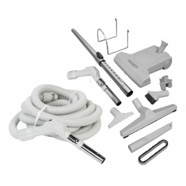 Central Vacuum Kit - 35' (10 m) Hose with Button Lock - Turbocat Air Nozzle - Floor Brush - Dusting Brush - Upholstery Brush - Crevice Tool - Telescopic Wand - Hose and Tools Hangers - Grey