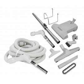Ensemble pour aspirateur central - boyau de 10 m (35') avec bouton-barrure - balai à air Turbocat - brosse à plancher - brosse à épousseter - brosse pour meubles - outil de coins - manchon télescopique - supports à boyau et outils - gris