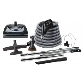 Central Vacuum Kit - 30' (9 m) Electrical Hose - Power Nozzle - Floor Brush - Dusting Brush - Upholstery Brush - Crevice Tool - 2 Telescopic Wands - Straight Wand - Hose and Tool Hangers - Black