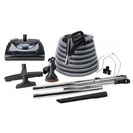 Ensemble pour aspirateur central - boyau électrique de 9 m (30') - balai électrique noir - brosse à plancher - brosse à épousseter - brosse pour meubles - outil de coins - 2 manchons télescopiques - manchon droit - supports pour boyau et outils - noir