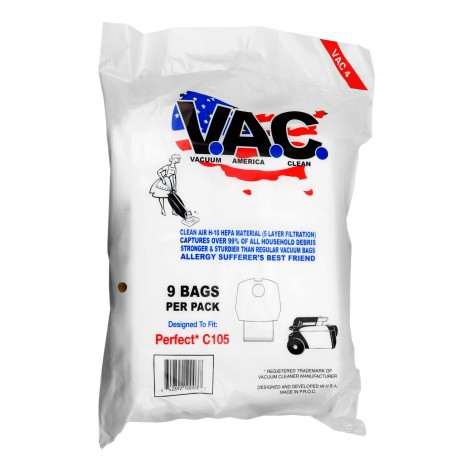 Microfilter Bag for Commercial Canister Vacuum Perfect C105 - Pack of 9 Bags