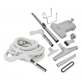 Ensemble pour aspirateur central - boyau de 9 m (30') avec bouton-barrure - balai à air Turbocat - brosse à plancher - brosse à épousseter - brosse pour meubles - outil de coins - manchon télescopique - supports pour boyau et outils - gris