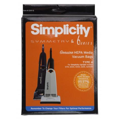 Sac microfiltre HEPA pour aspirateur Simplicity Symmetry et série 6 - paquet de 6 sacs