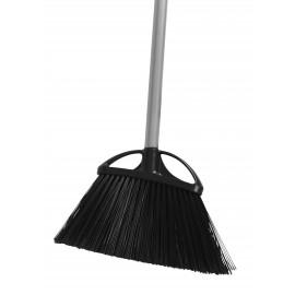 "Angle Broom - 10 "" (25,4 cm) Cleaning Path - 48"" (122 cm) Metal Handle - Black"