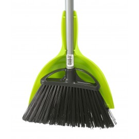 """Combo - Angle Broom - 10"""" (25,4 cm) Cleaning Path - 48"""" (122 cm) Metal Handle - Black - 9"""" (22.9 cm) Dust Pan - Snap On - Lime"""