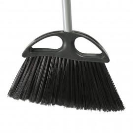 "Angle Broom - 12"" (30,5 cm) Cleaning Path - 48"" (122 cm) Metal Handle - Grey"