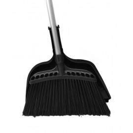 """Ensemble - balai à angle commercial de largeur de nettoyage de 40,6 cm (10"""") manche métallique de 122 cm (48"""") - noir - porte poussière d'une largeur de 30,5 cm (12"""") - encliquetable - noir"""