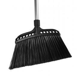 "Angle Broom - 16"" (40.6 cm) Cleaning Path - 48"" (122 cm) Metal Handle - Black"