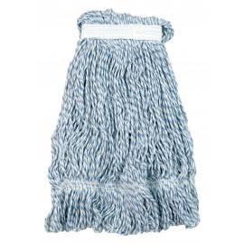 Tête de vadrouille / moppe synthétique de rechange - pour cirer - 453 g (16 oz) - blanche et bleue
