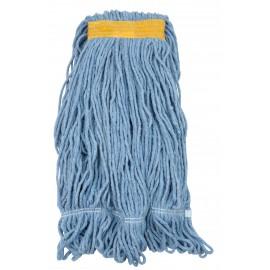 Tête de vadrouille / moppe synthétique de rechange - humide pour laver - bout bouclé - 680 g (24 oz) - bleue