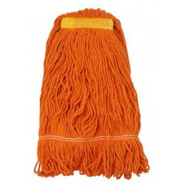 Tête de vadrouille / moppe synthétique de rechange - humide pour laver - bout bouclé - 680 g (24 oz) - orange