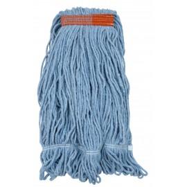 Tête de vadrouille / moppe synthétique de rechange - humide pour laver - bout bouclé - 567 g (20 oz) - bleue