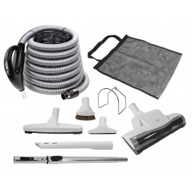 Central Vacuum Cleaner Kit - 30' (9 m) Black - Hose Gas Pump Handle - Air Nozzle - Floor Brush - Dusting Brush - Upholstery Brush - Crevice Tool - Telescopic Wand - Tool Mesh Bag - Metal Hose Hanger - Grey