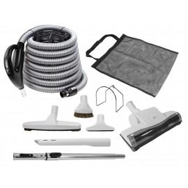 Ensemble pour aspirateur central - boyau de 10 m (35') noir - poignée pompe à gaz - balai à air - brosse à plancher - brosse à épousseter - brosse pour meubles - outil de coins - manchon télescopique - sac à outils - support à boyau - gris