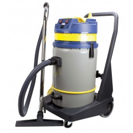Wet and Dry Commercial Vacuum Cleaner - Capacity of 16 gal (60.5 L) - 2 Motors - Tank on Tilting Trolley - Electrical Outlet for Power Nozzle - 10' (3 m) Hose - Metal Wands - Brushes and Accessories Included - IPS KOALA 420B JV