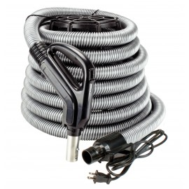 "Electrical Hose for Central Vacuum - 30' (9 m) - 1 3/8"" (35 mm) dia - Silver - Gas Pump Handle - On/Off Button - Power Nozzle Compatible - Button Lock"