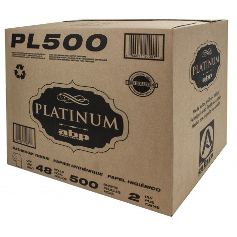 Bathroom Tissue - 2-Ply - Box of 48 Rolls of 500 Sheets - White - Platinum PL500