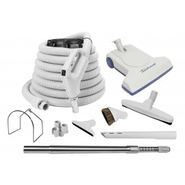 Central Vacuum Cleaner Kit - 35' (10 m) Hose Gas Pump Handle - Air Nozzle - Floor Brush - Dusting Brush - Upholstery Brush - Crevice Tool - Telescopic Wand - Plastic Tool Caddy on Wand - Metal Hose Hanger - Grey