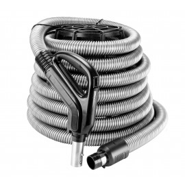 "Hose for Central Vacuum - 40' (12 m) - 1 3/8"" (35 mm) dia - Silver - Curved Handle - On/Off Button - Button Lock"