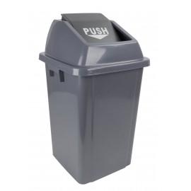 Trash Garbage Can Bin with Push Down Lid - 16 gal (60 L) - Grey