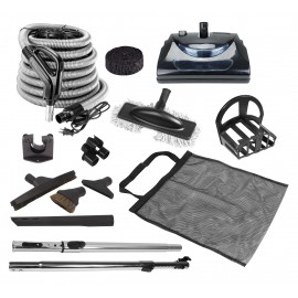 Central Vacuum Kit - 35' (10 m) Silver Electrical Hose - Power Nozzle - Brush Set and Hose Cover