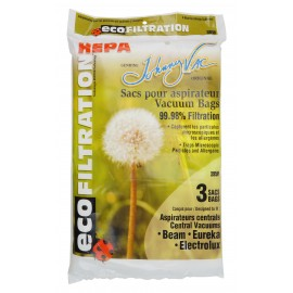 HEPA Microfilter Bag for Central Vacuum Beam, Eureka and Electrolux - Pack of 3 Bags - Envirocare 4464MNS