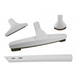 Central Vacuum Brush Kit - Floor Brush - Dusting Brush - Upholstery Brush - Crevice Tool - Grey