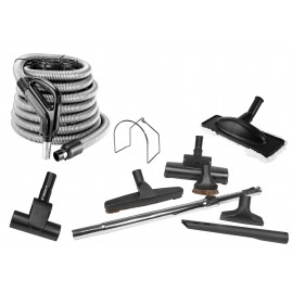Central Vacuum Kit - 30' (9 m) Silver Hose - Air Nozzle - Mini Air Nozzle - Floor Brush - Dusting Brush - Upholstery Brush - Crevice Tool - Microfiber Brush - Telescopic Wand - Hose Hanger - Black