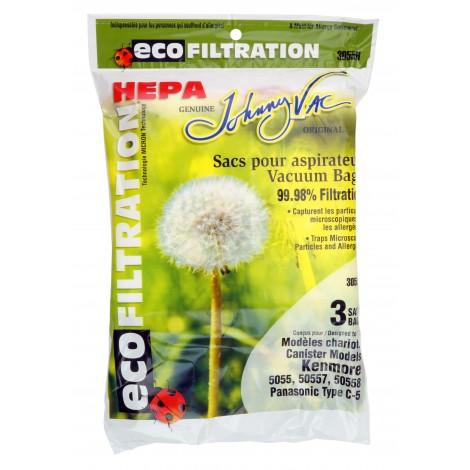 HEPA Microfilter Bag for Kenmore Models 5055, 50557, 50558 and Panasonic C-5 Type Vacuum - Pack of 3 Bags - Envirocare A137JV
