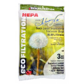 HEPA Microfilter Bag for Central Vacuum Johnny Vac, Rhinovac, Nutone, Hoover, Kenmore and Many More - Pack of 3 Bags - Envirocare 505MNS