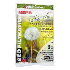 Sac microfiltre HEPA pour aspirateurs central Johnny Vac, Rhinovac, Nutone, Hoover, Kenmore et bien d'autres marques - paquet de 3 sacs