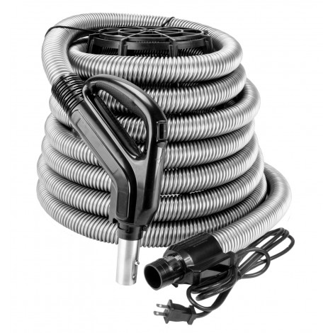"""Electrical Hose for Central Vacuum - 35' (10 m) - 1 3/8"""" (35 mm) dia - Silver - Gas Pump Handle - On/Off Button - Power Nozzle Compatible - Button Lock"""