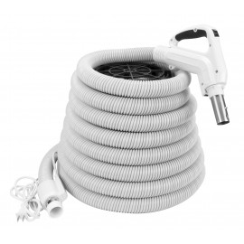 Electric Hose for Central Vacuum - 35' (10 m) - Ergonomic Handle with Foam Grip and 360° Swivel - Grey - Power Nozzle Compatible - On/Off Button - Button Lock