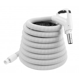 Hose for Central Vacuum - 35' (10 m) - Ergonomic Handle with Foam Grip and 360° Swivel - Grey - Button Lock - On/Off Button