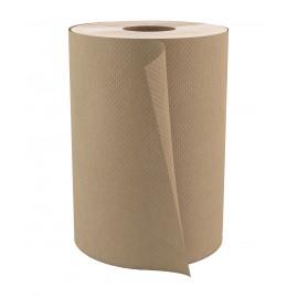 "Paper Hand Towel - 7.8"" (20 cm) Width - Roll of 350' (106.7 m) - Box of 12 Rolls - Brown - Cascades H035"