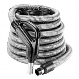 """Boyau pour aspirateur central - 12 m (40' ) - 35 mm (1 3/8"""") dia - argent - poignée pompe à gaz - bouton marche/arrêt - bouton barrure"""