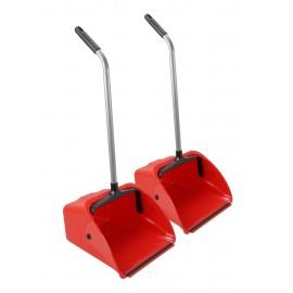 Standing Dust Pan - Long Handle - Jumbo - Red - 2 Units