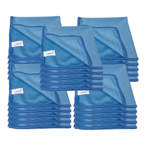 Microfiber Cloth for Window Cleaning - 14'' X 14'' (35.5 cm x 35.5 cm) - Blue - Pack of 25
