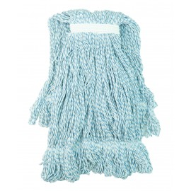 String Mop Replacement Head - Synthetic Washing Mops - with Narrow Strips and Looped End - Medium - 20 oz (567 g) - Blue - Globe 3057