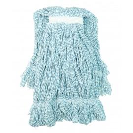 Tête de vadrouille / moppe synthétique de rechange - bouclée à bandes étroites - medium - 20 oz (567 g) - bleue - Globe 3057