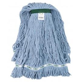 Tête de vadrouille / moppe synthétique de rechange - bouclée à bandes étroites - extra-large - 32 oz (907 g) - bleue - Globe 3832