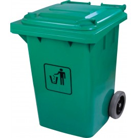 Trash Garbage Can Bin with Lid - on Wheels - 63.4 gal (240 L) - Green - Used