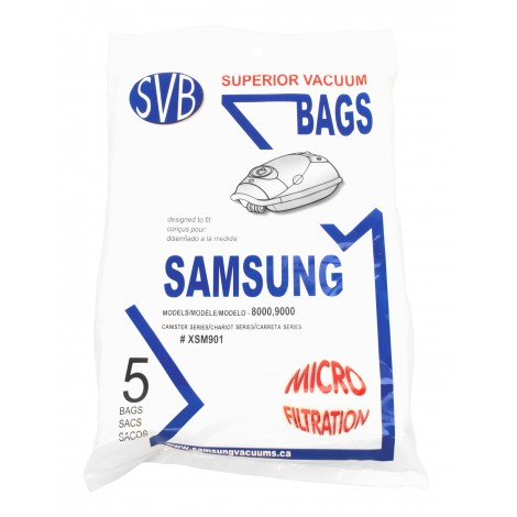 Paper Bag for Canister Vacuum Samsung 8000/ 9000 - Pack of 5 Bags - # XSM901