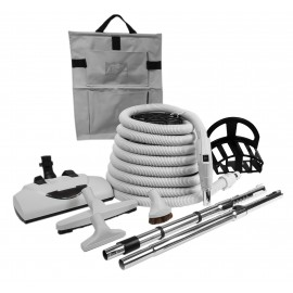 Central Vacuum Kit - 35' (10 m) Electrical Hose with Gas Pump Handle - Power Nozzle Wessel-Werk - Floor Brush - Dusting Brush - Upholstery Brush - Crevice Tool - 2 Telescopic Wands - Hangers - Grey