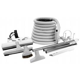 Ensemble pour aspirateur central - boyau 9 m (30') - balai électrique Lindhaus - brosse à plancher - brosse à épousseter - brosse pour meubles - outil de coins - manchon télescopique - 2 manchons droits - supports pour boyau et outils - gris