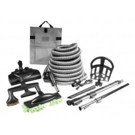 Ensemble pour aspirateur central - boyau de 9 m (30') avec bouton marche/arrêt - balai électrique Wessel-Werk - brosse à plancher - brosse à épousseter - brosse pour meubles - outil de coins - 2 manchons téléscopiques - support pour outils et boyau - noir