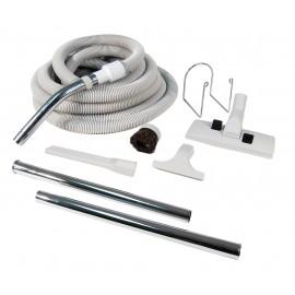 Ensemble pour aspirateur central - boyau 9 m (30') avec embout et poignée - brosse à tapis - brosse à épousseter - brosse pour meubles - outil de coin - 2 manchons droits - support à boyau - gris