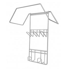 Petit support à boyau et outils en métal - pour aspirateur central - blanc