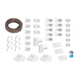 Installation Kit for Central Vacuum - 3 Inlets - with Accessories and Wall Mount Valves