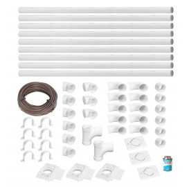 Installation Kit for Central Vacuum - 3 Inlets - 48' (14.6 m) Piping - with Accessories
